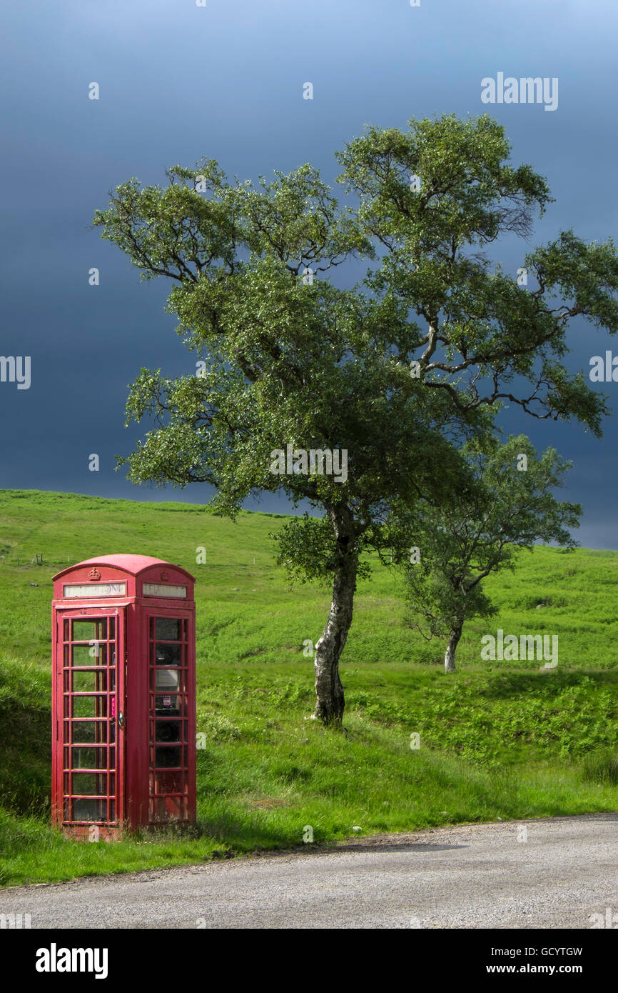 Single square red telephone box on country lane next to tree with stormy sky. - Stock Image