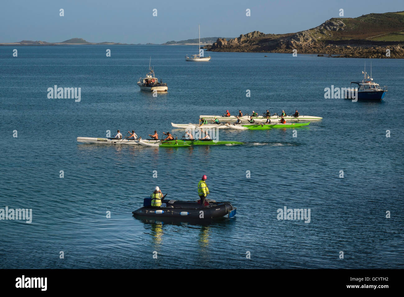 Start of the challenging Celtic Crossing outriggers race from St Mary's Scilly Isles to Sennen, Cornwall, UK - Stock Image