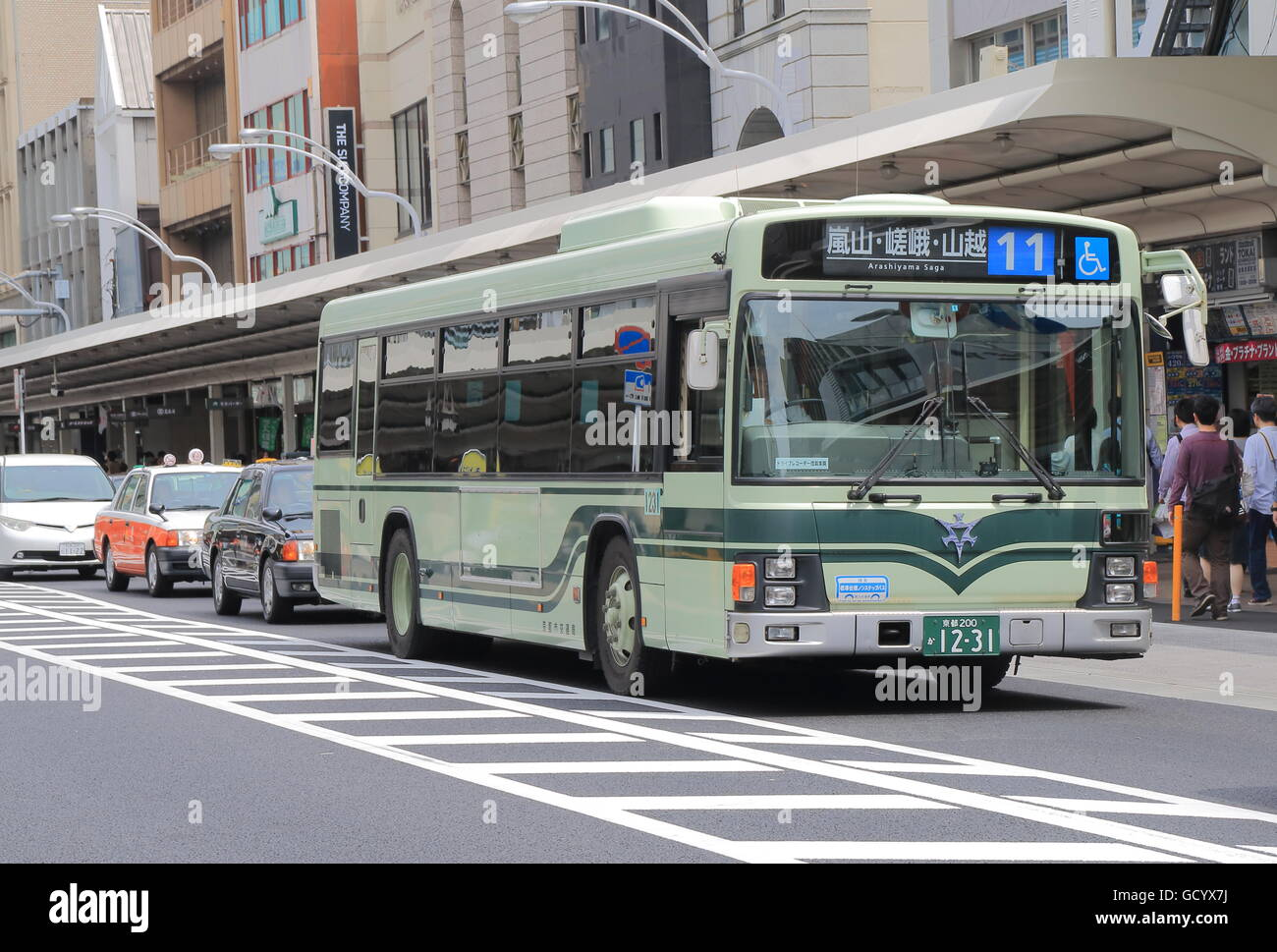 Kyoto City bus on Shijyo street in Kyoto Japan. Stock Photo