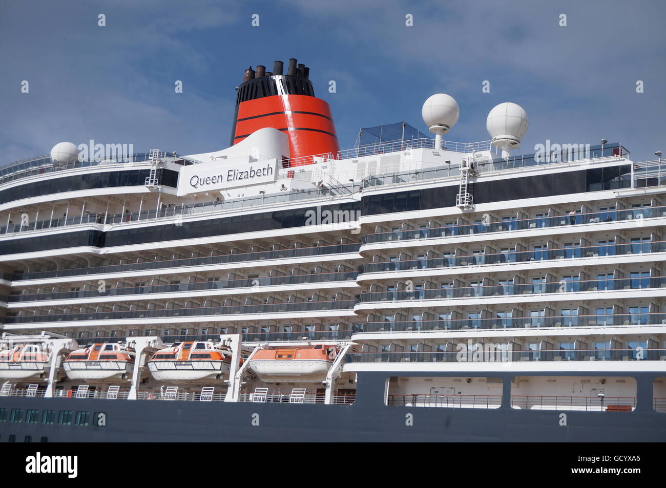 Close-up of Queen Elizabeth cruise ship - Stock Image