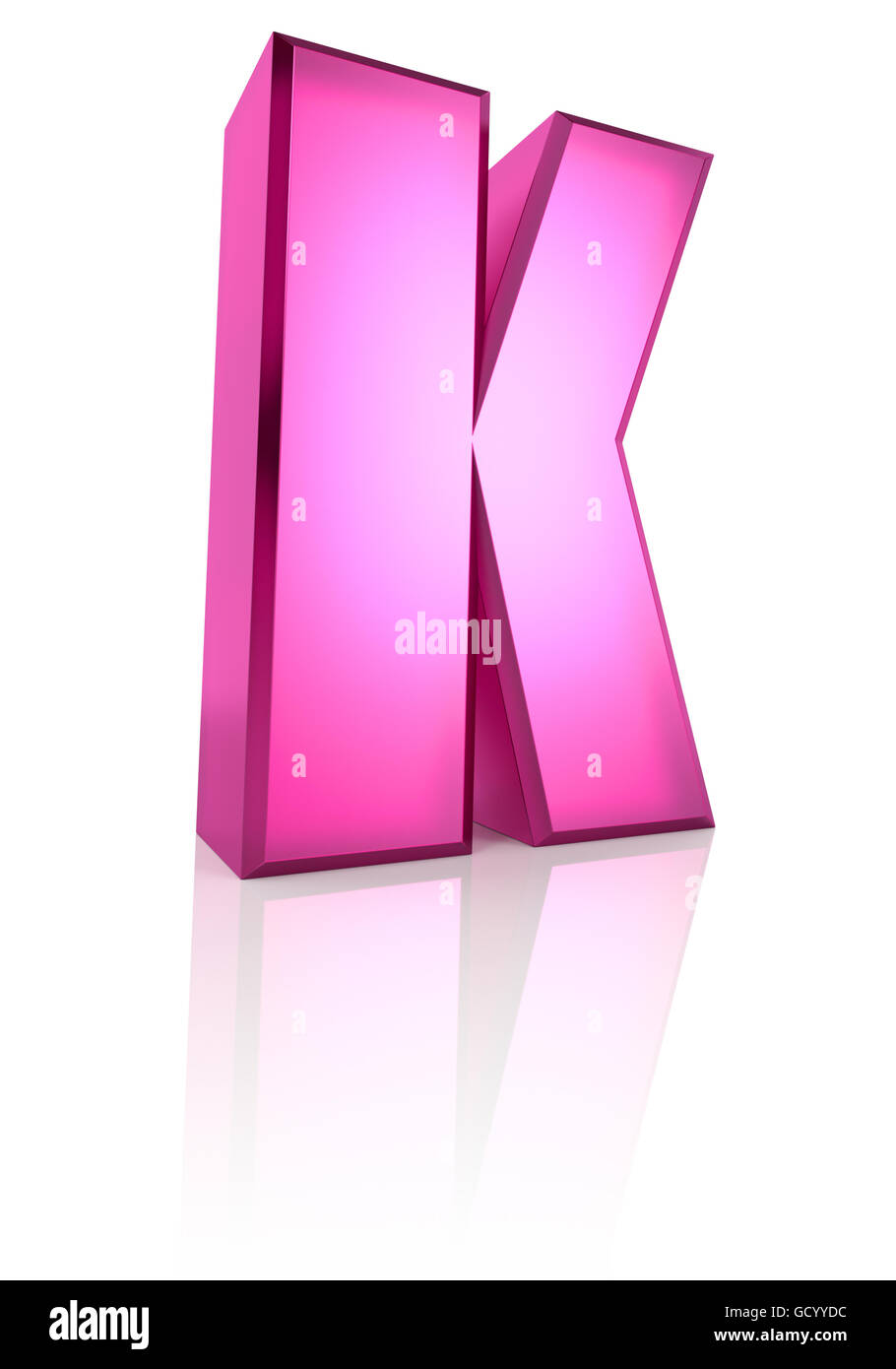 Pink letter K isolated on white background. 3d rendering - Stock Image