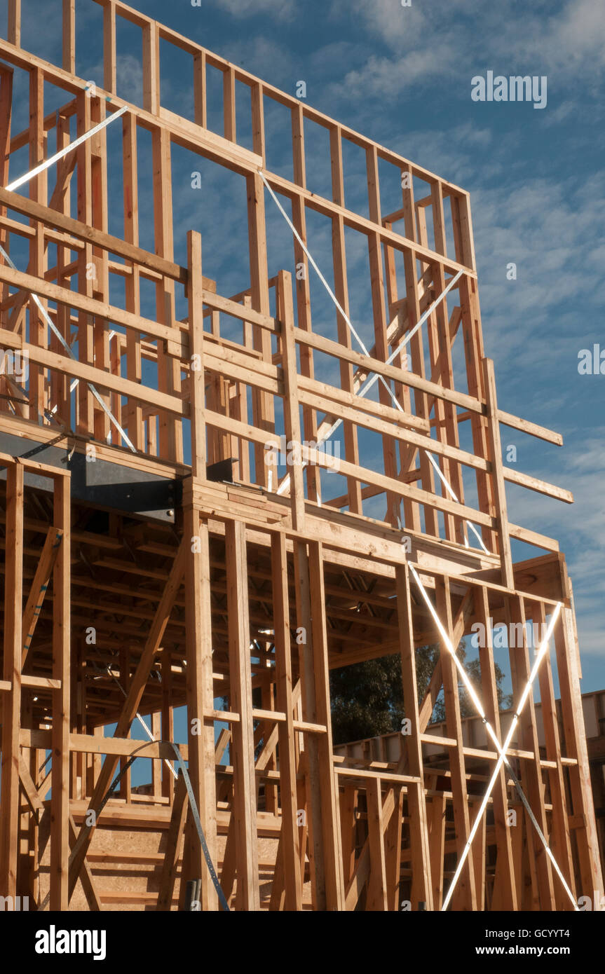 Timber frame for a house under construction in Melbourne, Australia Stock Photo