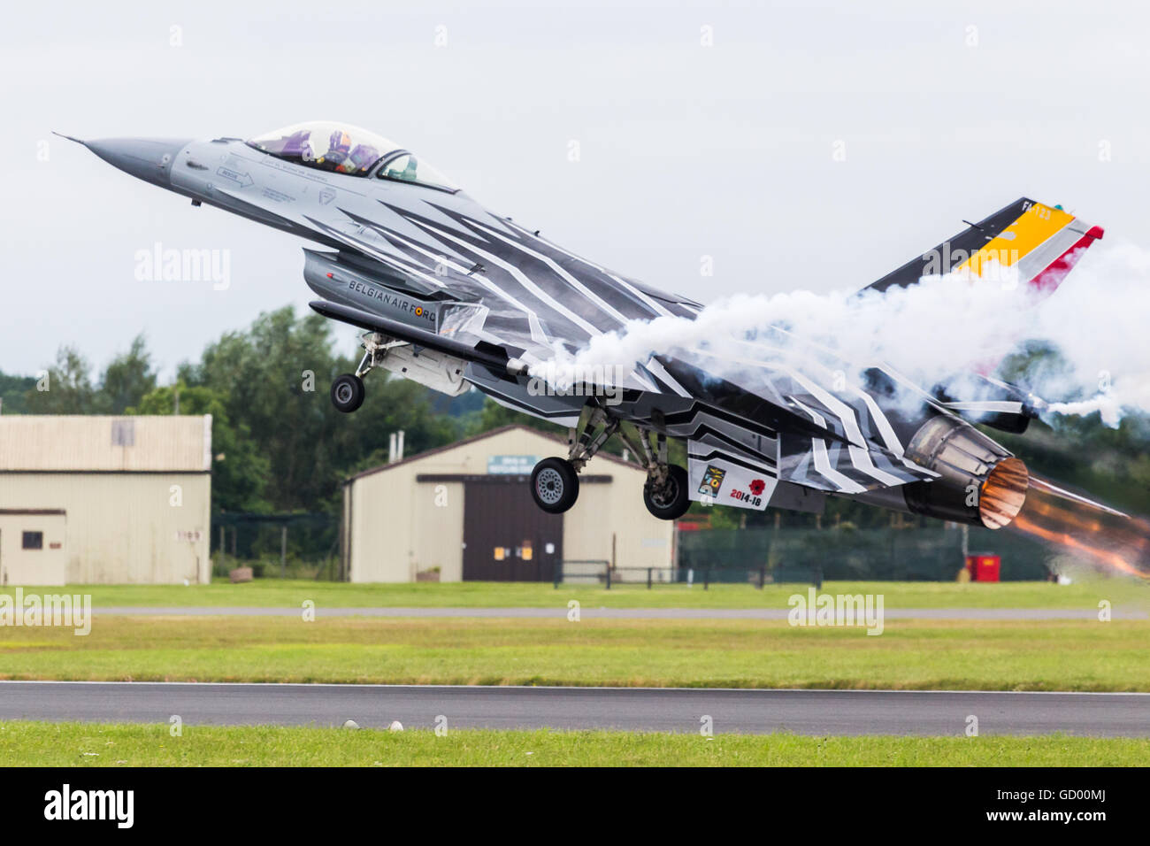 Gizmo takes to the sky in his F-16AM Fighting Falcon pictured at the 2016 Royal International Air Tattoo. Stock Photo
