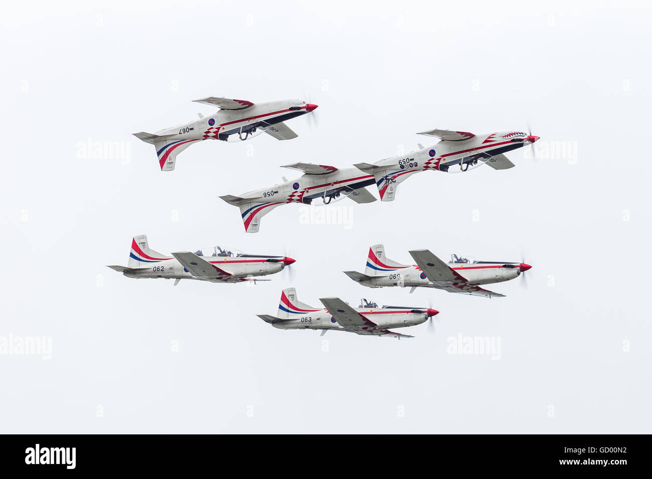 Wings of Storm of the Croatian Air Force display in formation pictured at the 2016 Royal International Air Tattoo. - Stock Image
