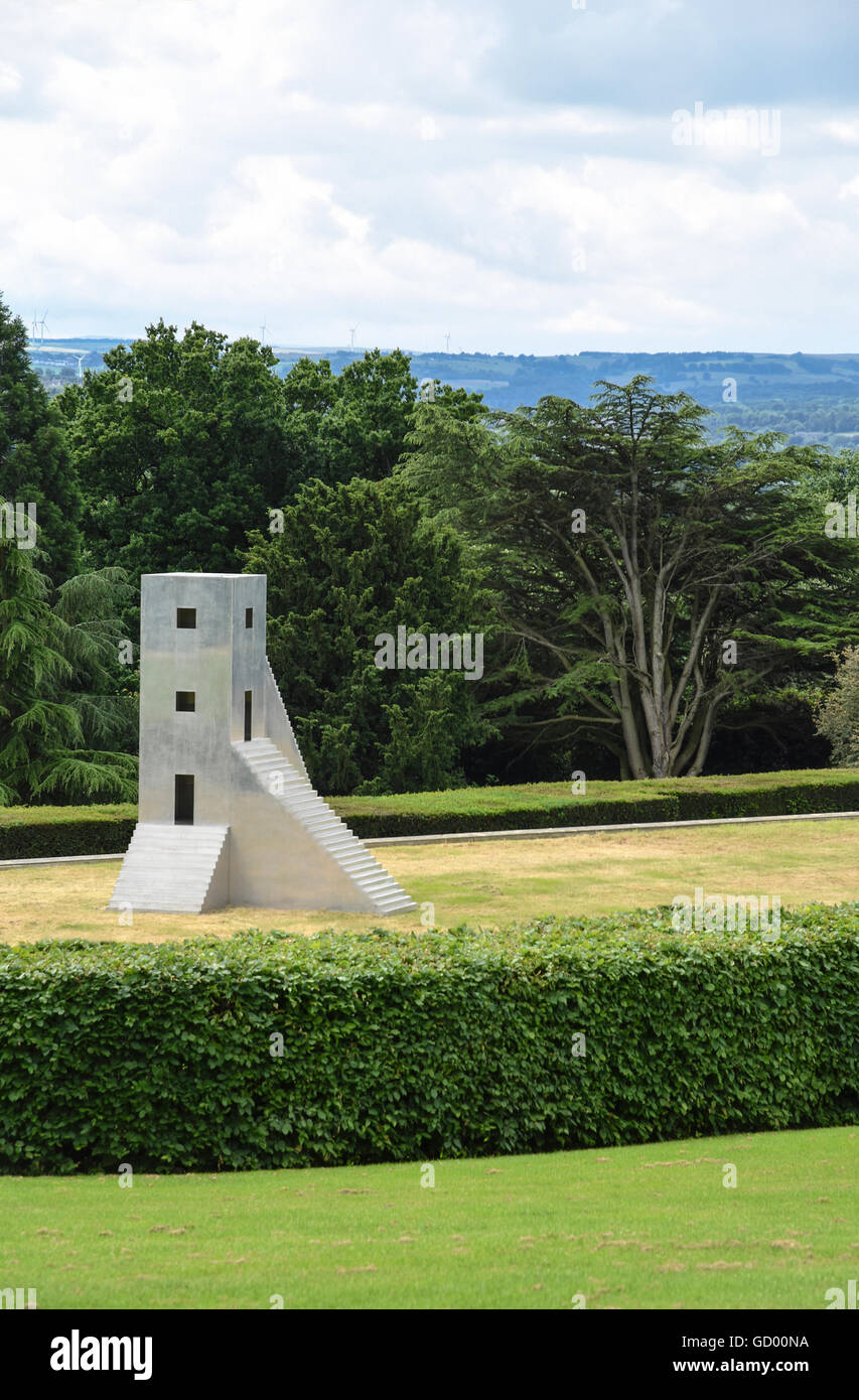 'House To Watch The Sunset' a sculpture by Not Vital on display in the grounds of The Yorkshire Sculpture - Stock Image