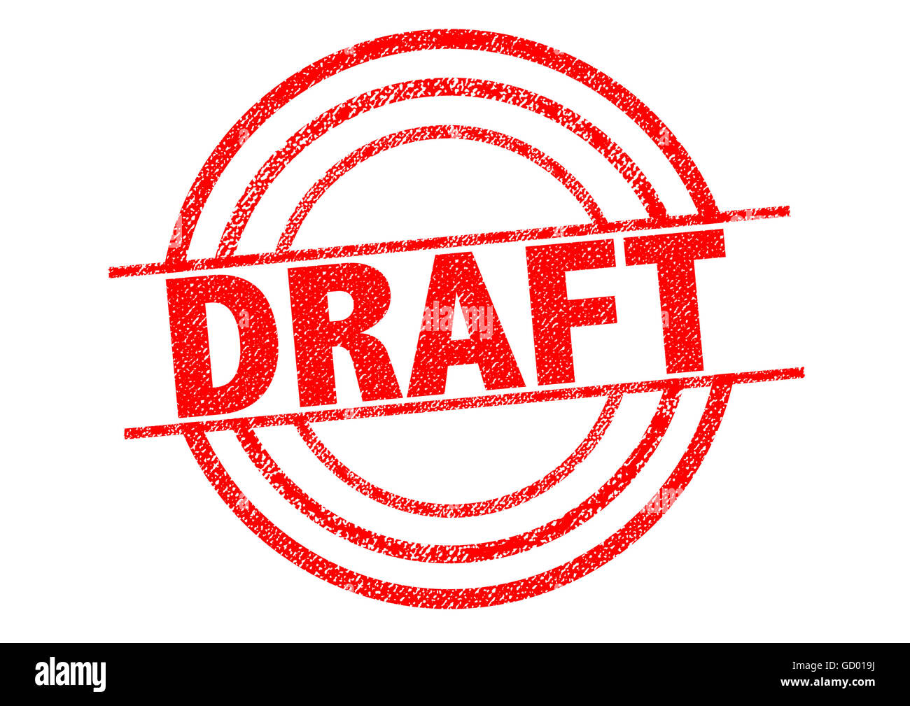 DRAFT red Rubber Stamp over a white background. - Stock Image