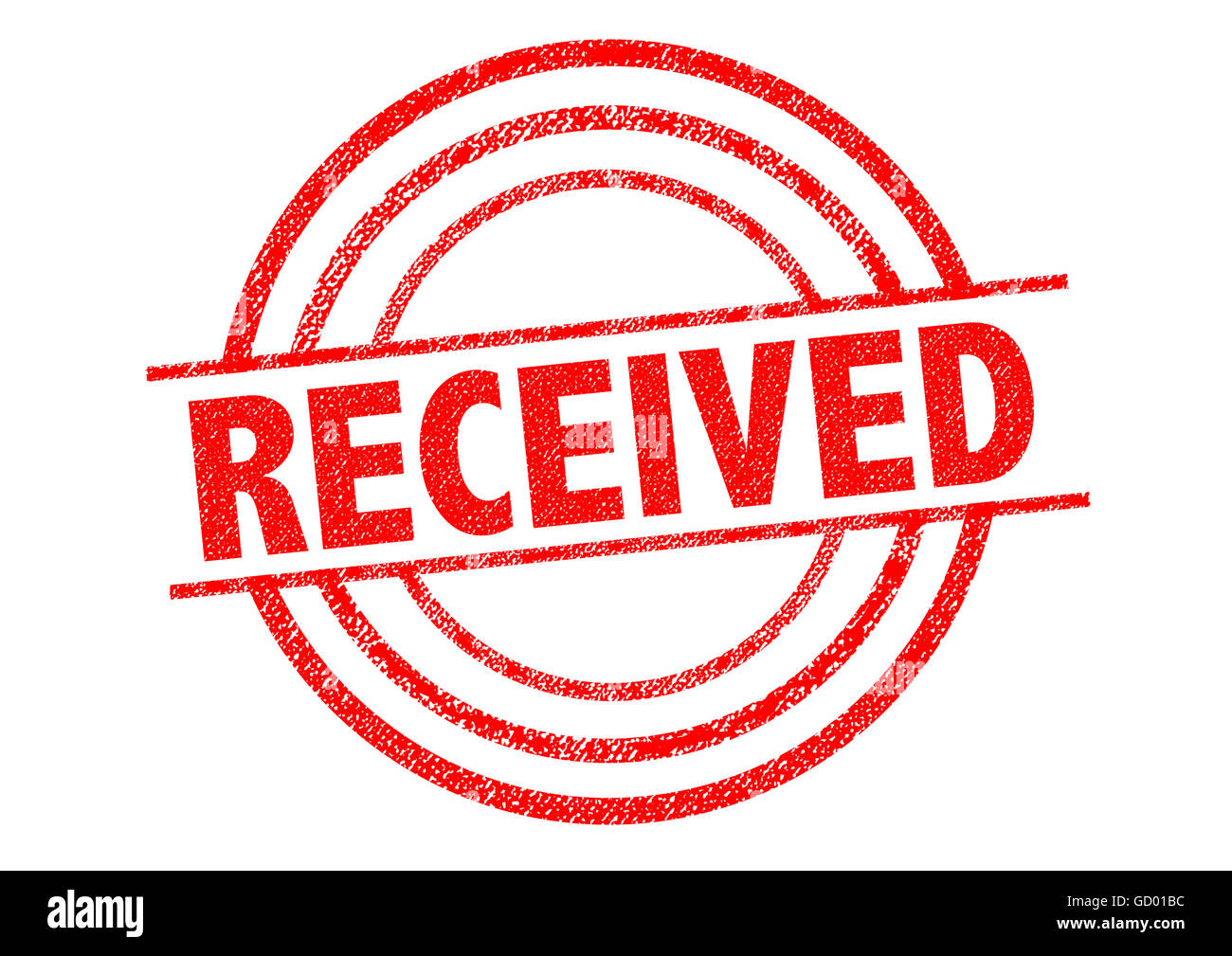 RECEIVED red Rubber Stamp over a white background. - Stock Image