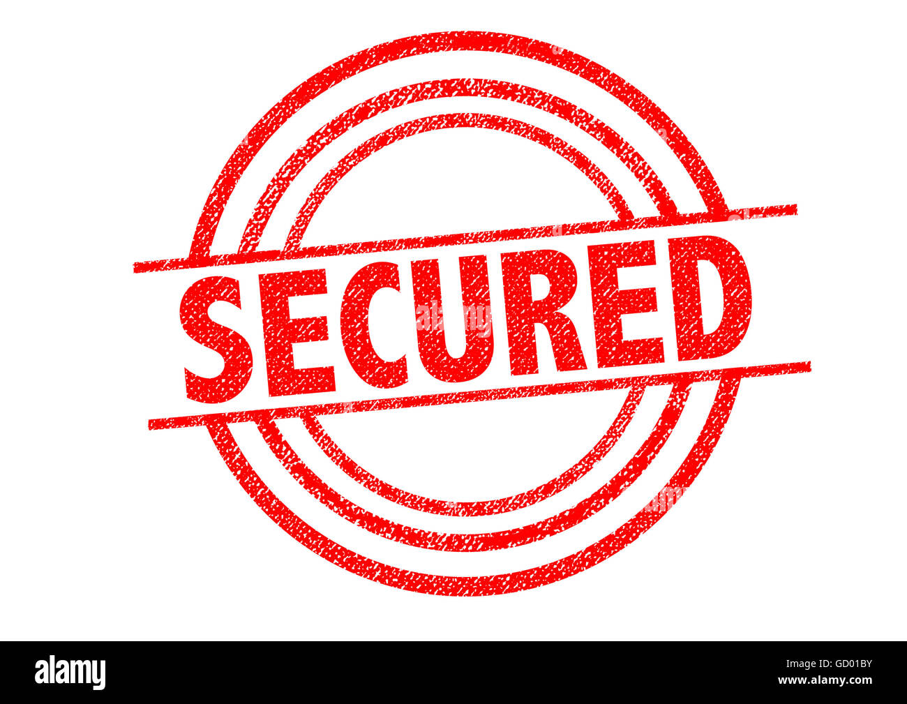 SECURED Rubber Stamp over a white background. - Stock Image