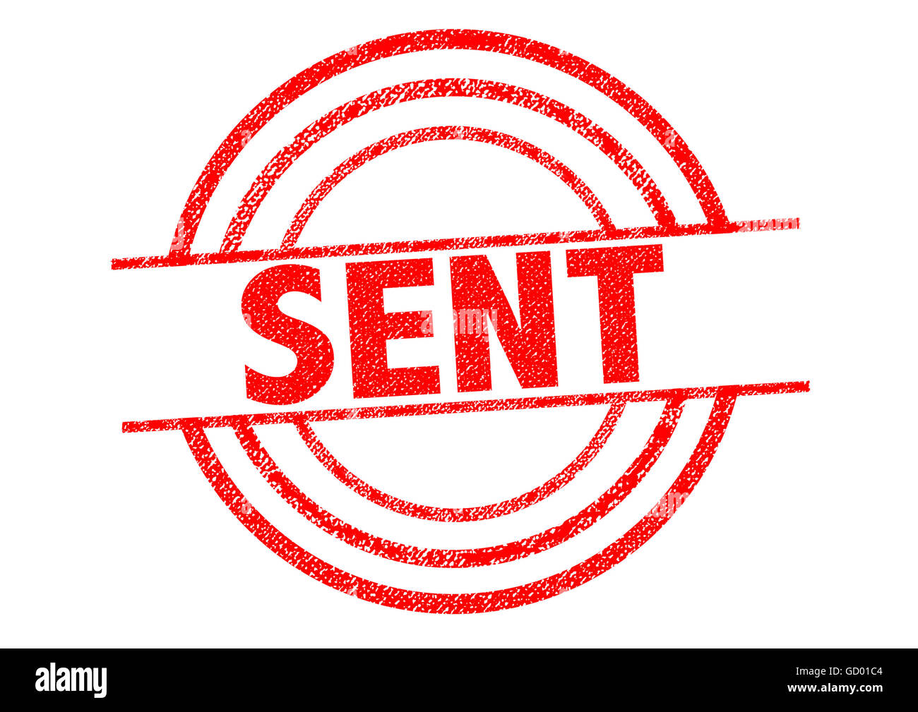SENT red Rubber Stamp over a white background. - Stock Image
