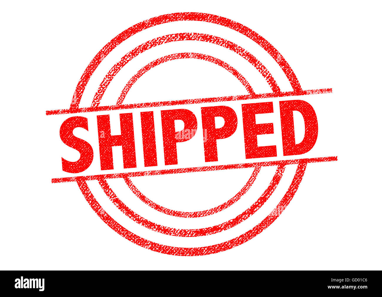 SHIPPED red Rubber Stamp over a white background. - Stock Image