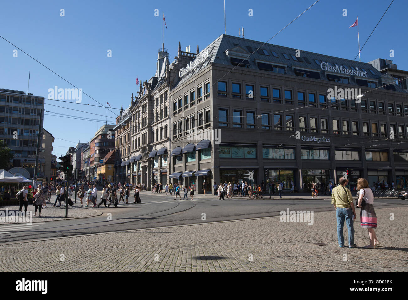 Stortorvet, central Oslo, where the department store GlasMagasinet is located, Oslo, Norway - Stock Image