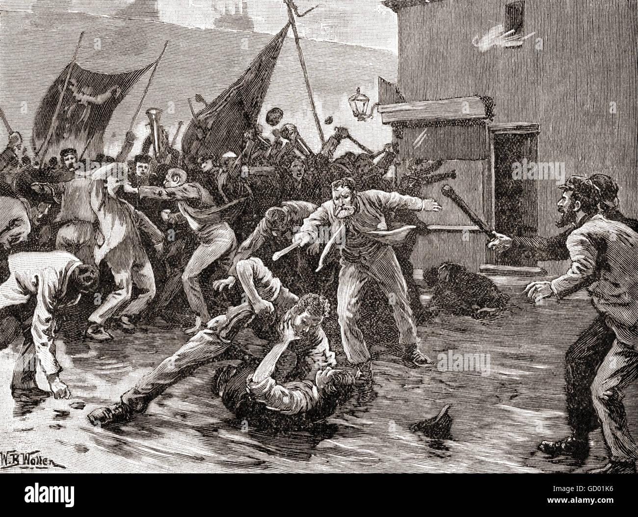Rioting in Belfast, Ireland in 1886. - Stock Image