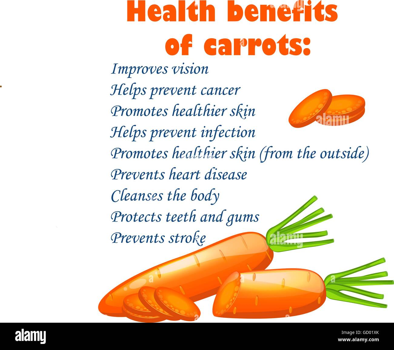 nutrition facts carrots stock vector images - alamy