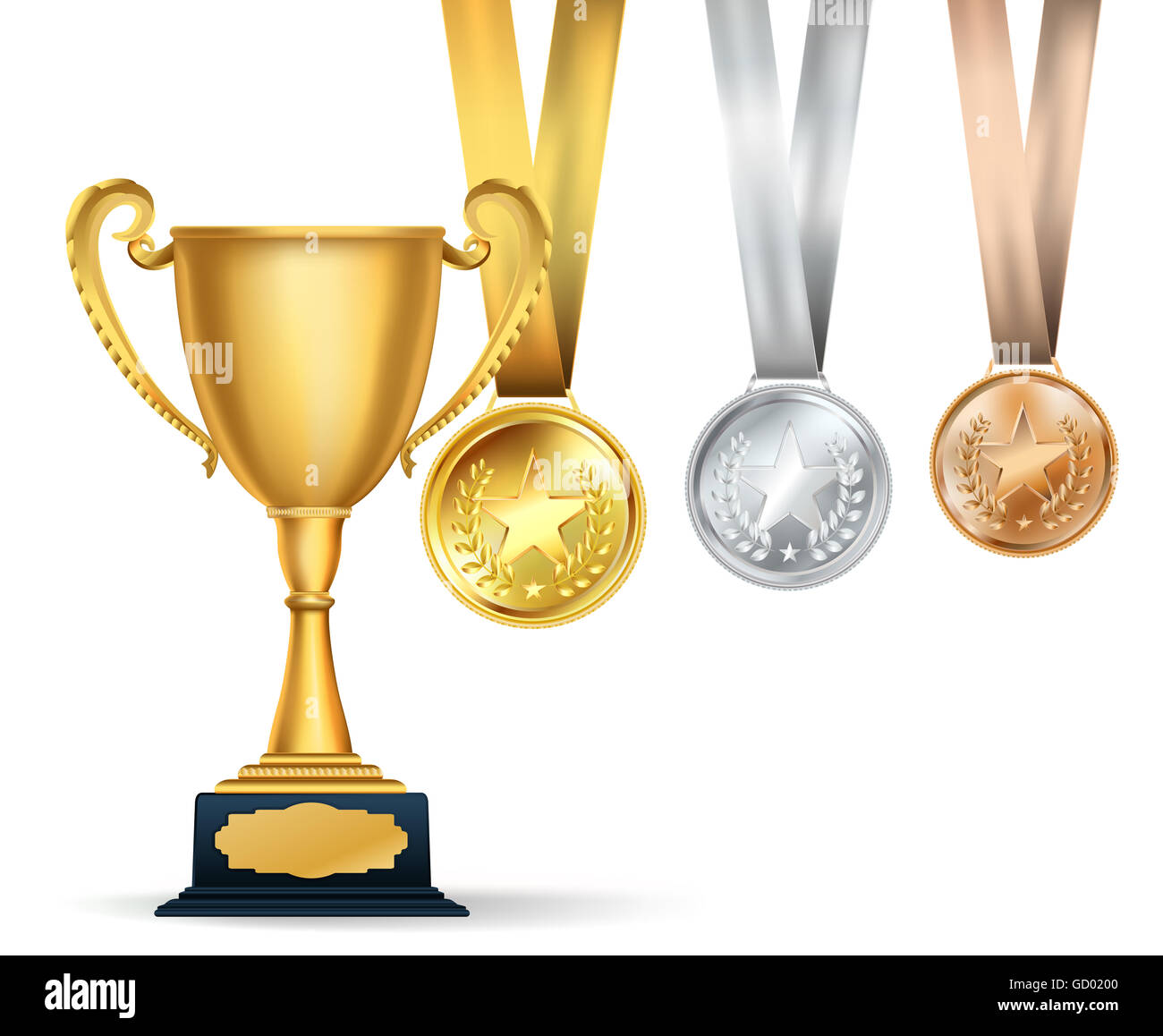 Golden trophy cup and set of medals with ribbons on white background