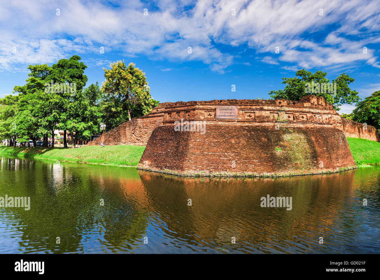 Chiang Mai, Thailand old city ancient wall and moat at Katam Corner. - Stock Image