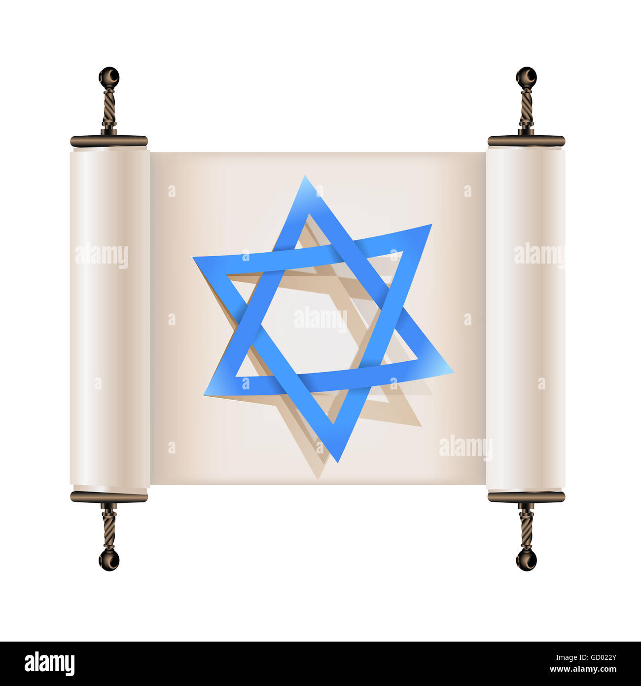 Star of David with shadow on Hebrew ancient scroll. Sign of Judaic religion and faith - Stock Image