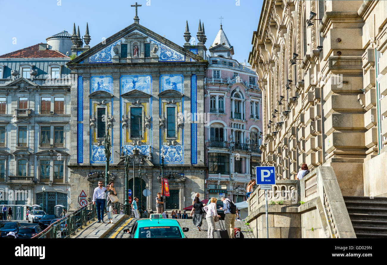Principal facade of Igreja de Santo Antonio dos Congregados church in Porto, Portugal - Stock Image