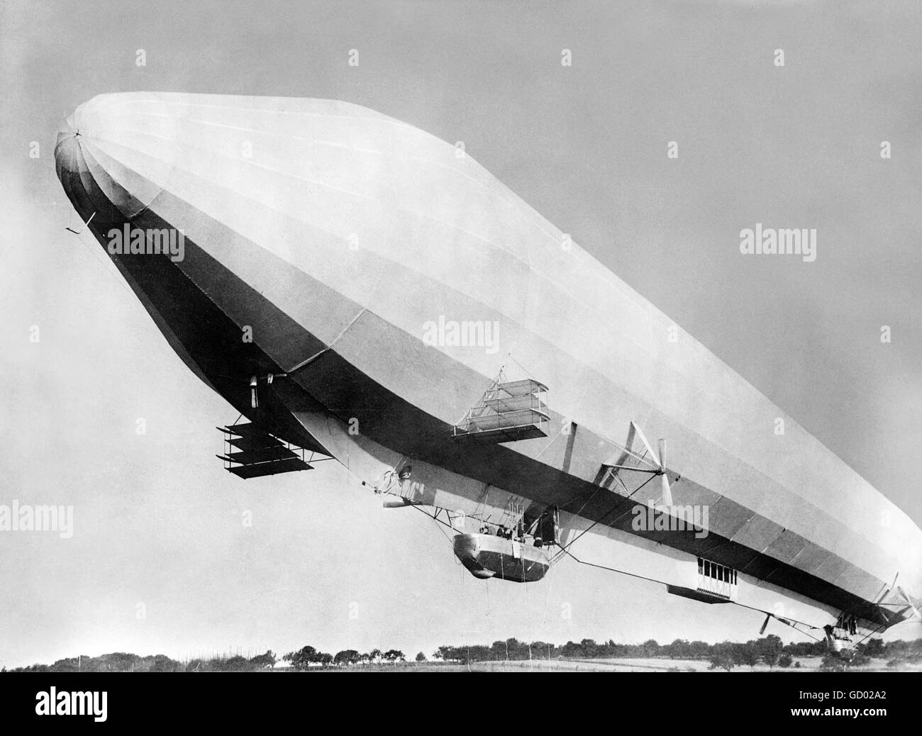 Zeppelin airship. Pre WWI German Zeppelin airship LZ 7. Photo from Bain News Service, 1910. Stock Photo