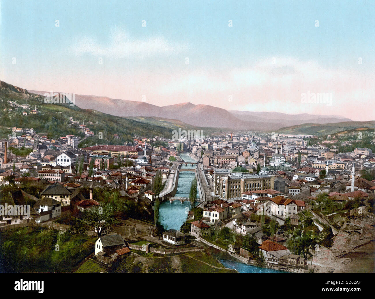 View over Sarajevo from the North at the end of the 19th century, photochrome print c.1890-1900. - Stock Image