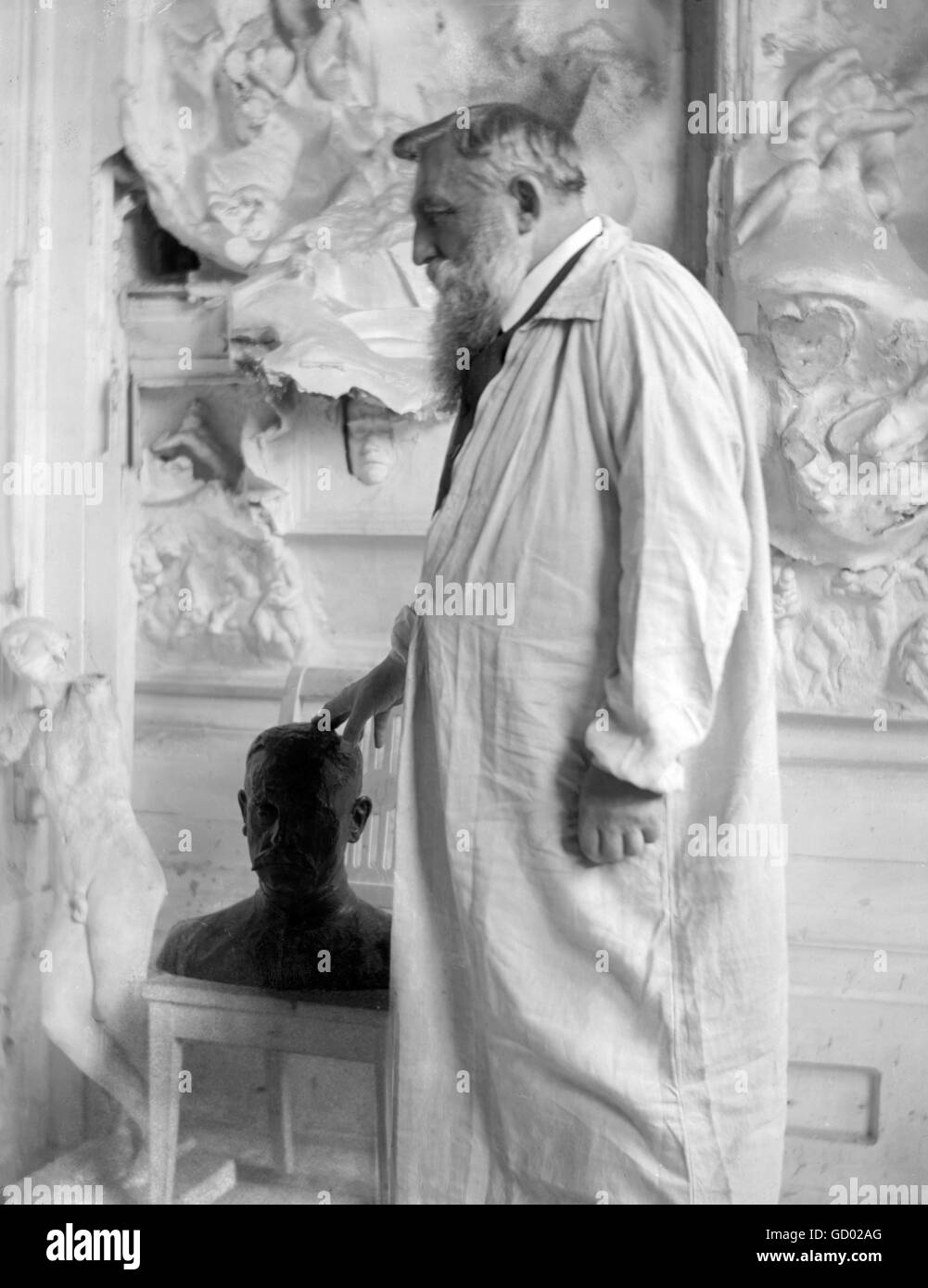 Auguse Rodin. Portrait of the French sculptor Auguste Rodin (François Auguste René Rodin: 1840-1917) by - Stock Image