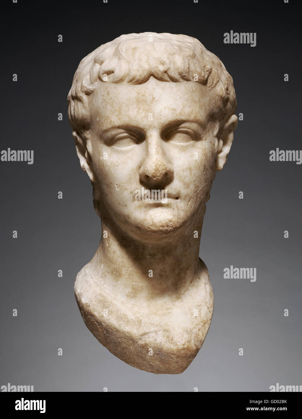 Caligula. Marble head of Emperor Caligula (AD 12 - AD 41), who ruled between AD 37 and 41, dated c.AD 40. Stock Photo