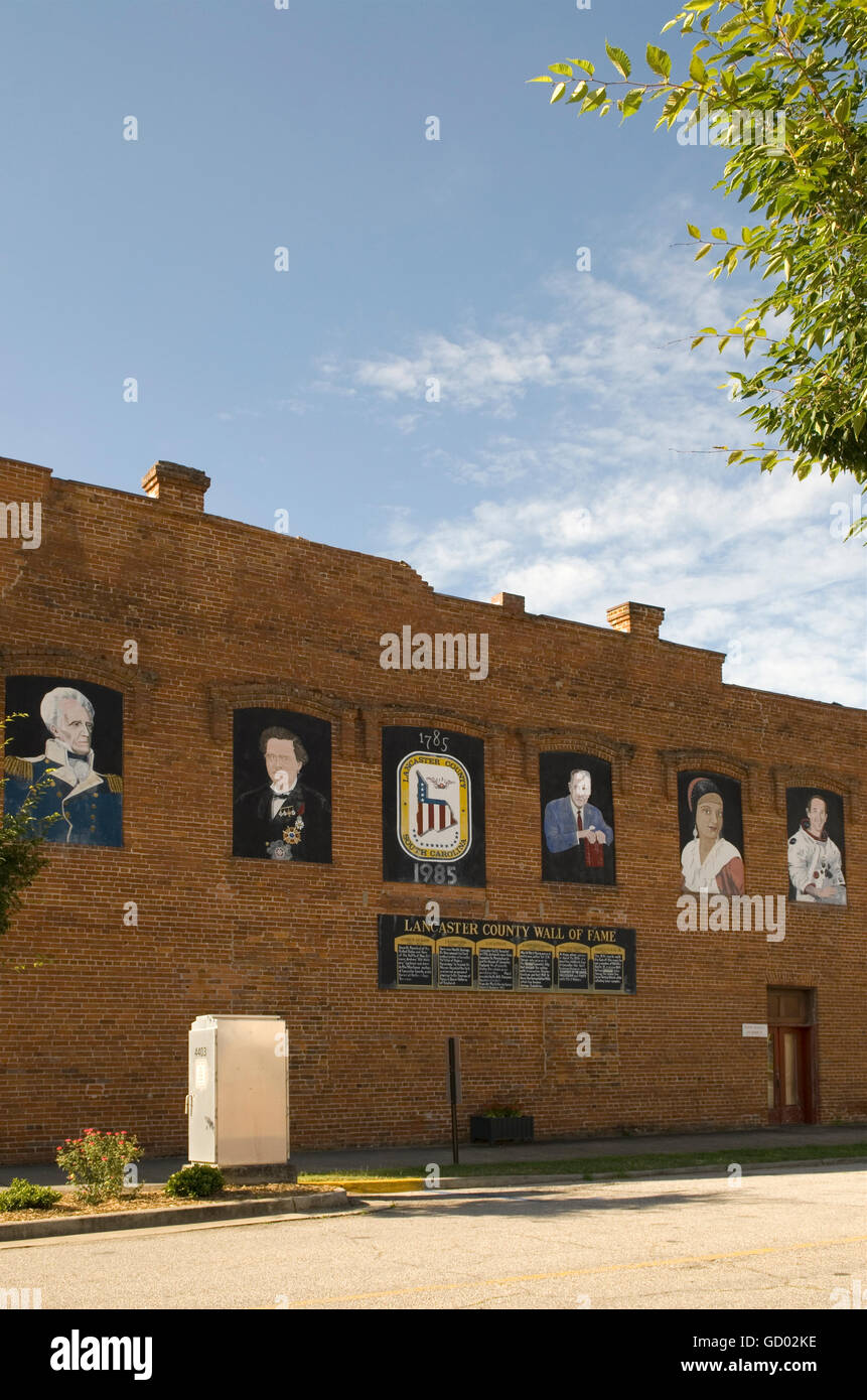 Lancaster Wall of Fame South Carolina USA - Stock Image