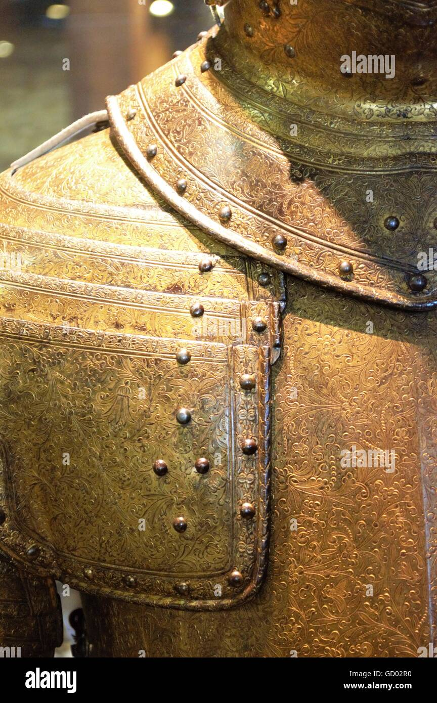 Intricate Carved Medieval Suit of Armor - Stock Image