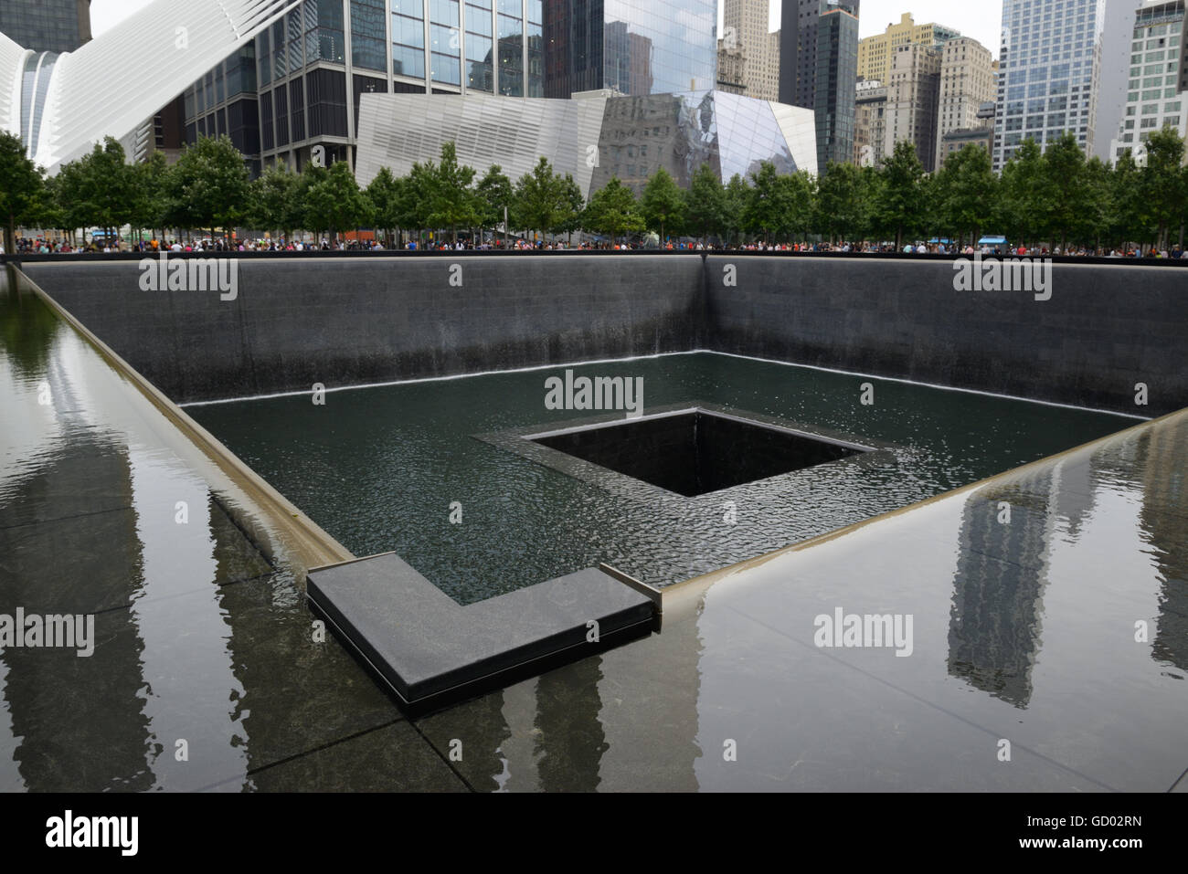 World Trade Center 9/11 Memorial. Site of one of the towers that went down, lower Manhattan. Memorial Museum in - Stock Image