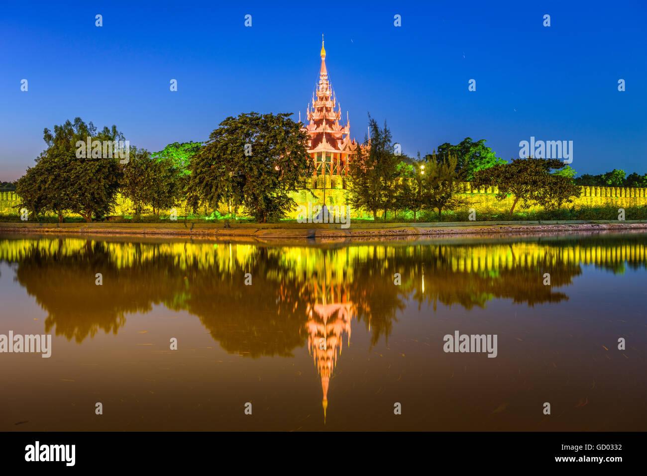 Mandalay, Myanmar at the royal palace moat. Stock Photo