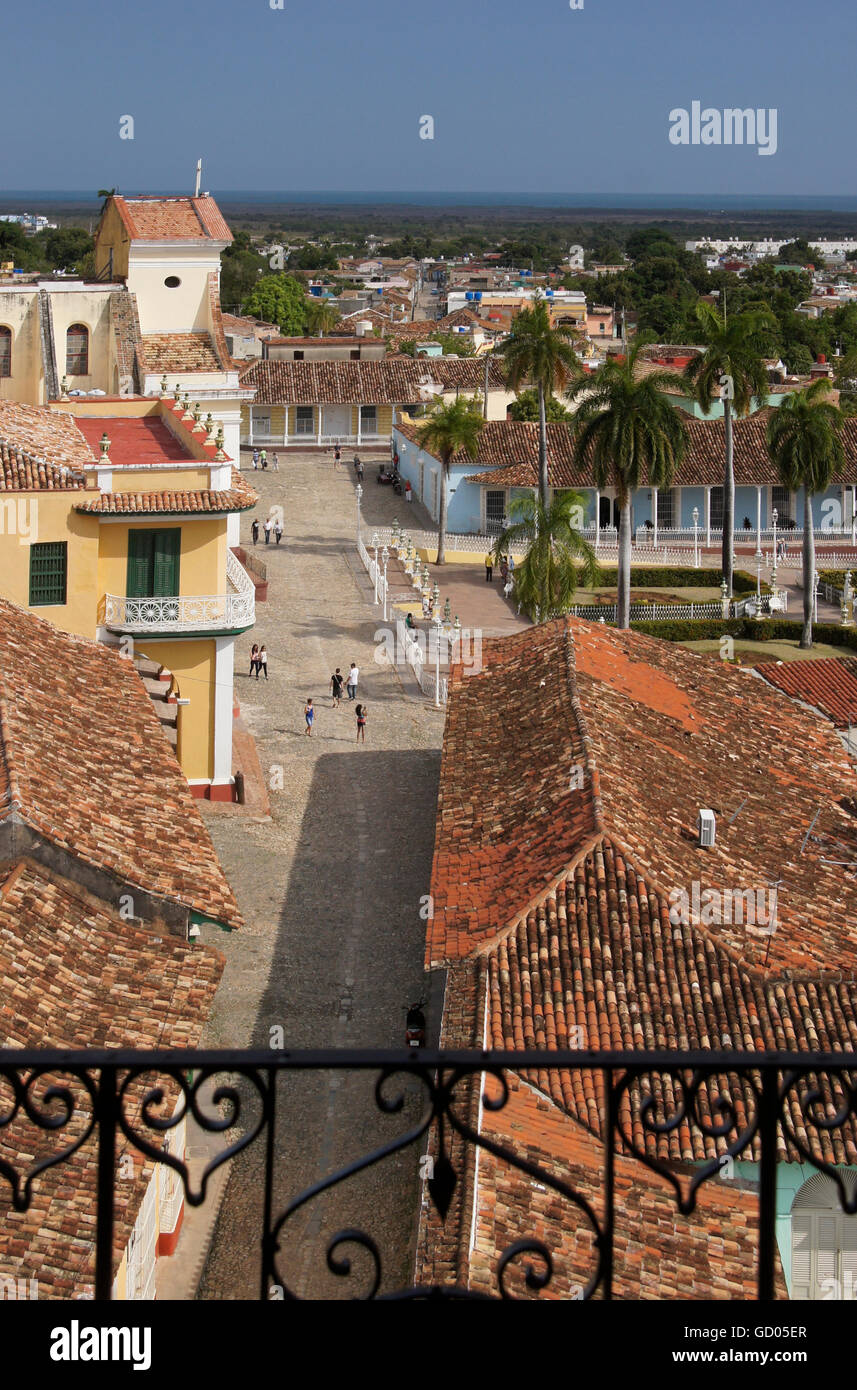 Iglesia Parroquial de la Santisima Trinidad on Plaza Mayor, Trinidad, Cuba - Stock Image