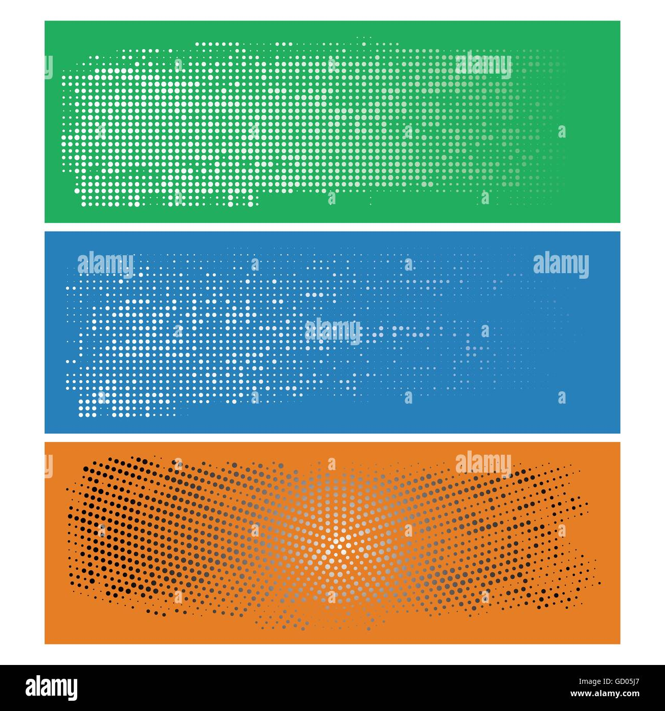 Set of Vintage Abstract Halftone Backgrounds. Vector Illustration. Radial and Linear Halftone. - Stock Image