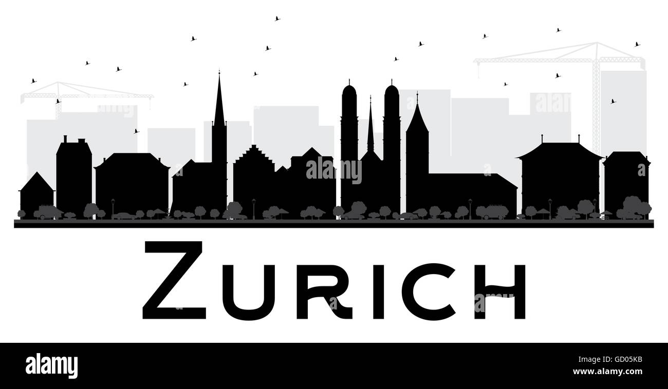 Zurich City skyline black and white silhouette. Vector illustration. Simple flat concept for tourism presentation, - Stock Image