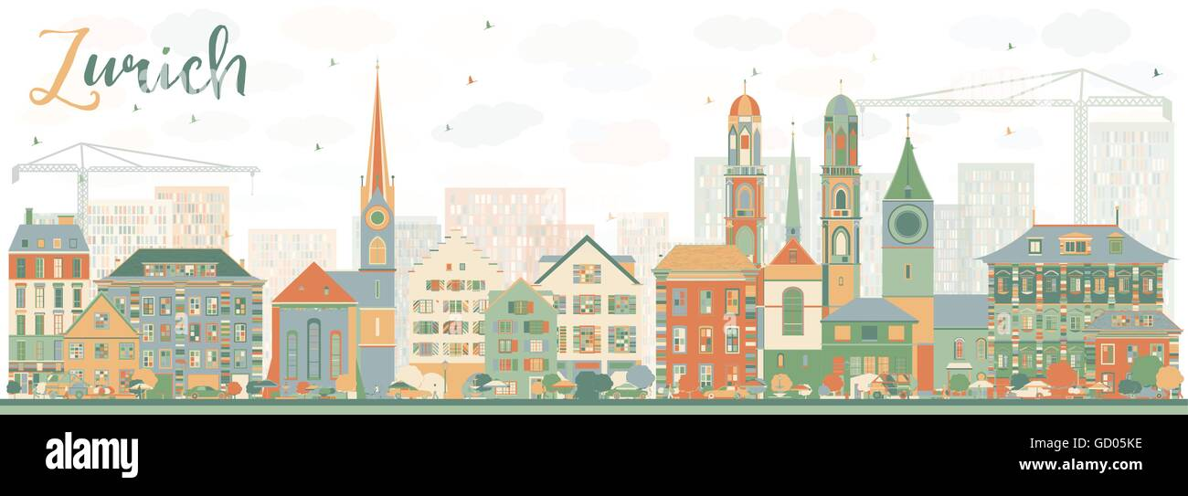 Abstract Zurich Skyline with Color Buildings. Vector Illustration. Business Travel and Tourism Concept with Zurich - Stock Vector