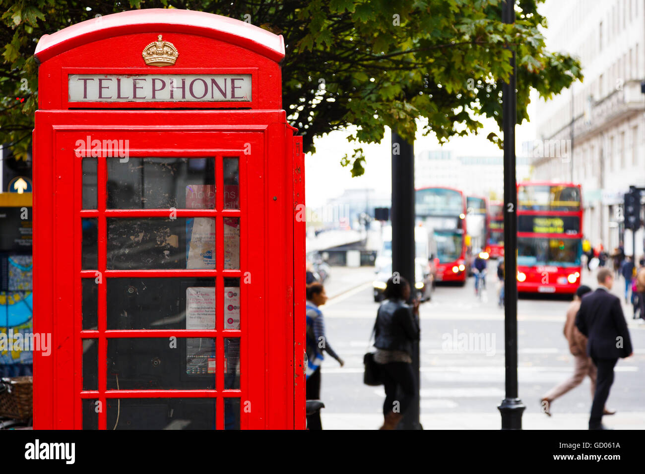 Traditional UK red telephone box. London, England, United Kingdom, Europe. - Stock Image