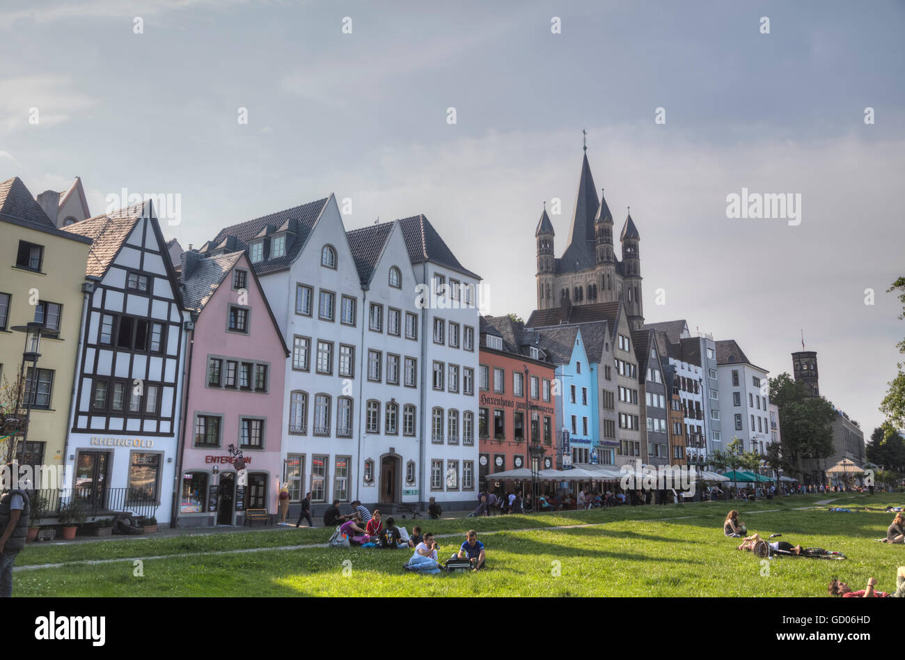 COLOGNE, GERMANY - JUNE 8: People at the old city center on June 8, 2016 in Cologne, Germany. - Stock Image
