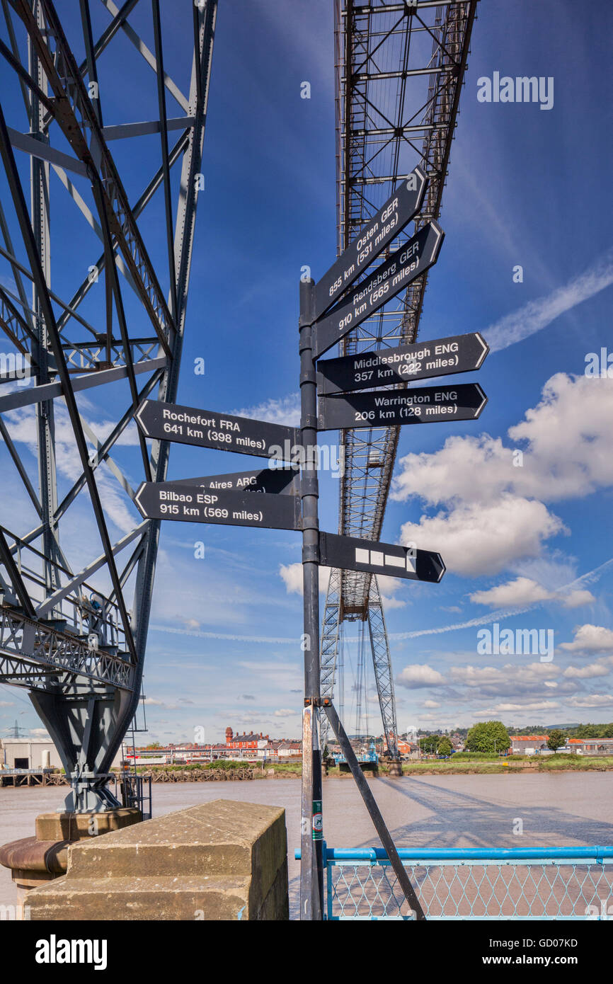 Sign at the Transporter Bridge, Newport, Gwent, South Wales, showing distances to the other transporter bridges - Stock Image