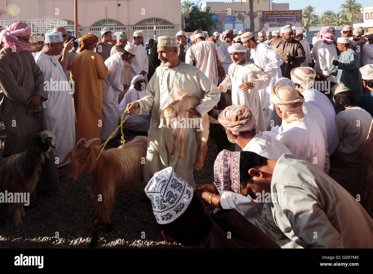 NIZWA, OMAN - APRIL 24 2015:Omani men at the traditional cattle market or souq in Nizwa, Oman. - Stock Image