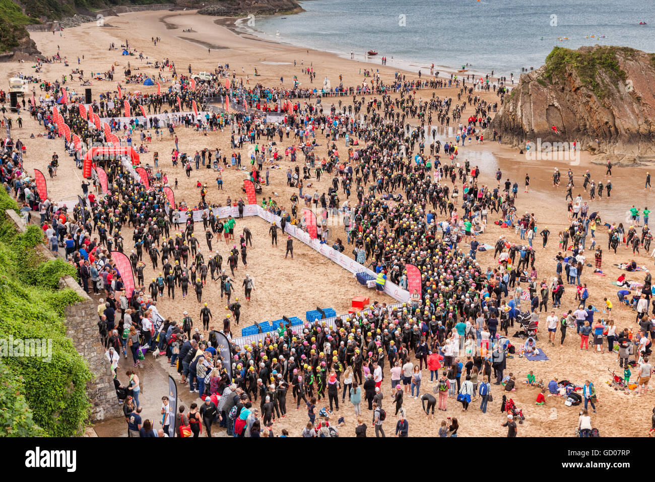 2100 swimmers gather for the first event of the Wales Long Course Weekend at Tenby, Pembrokeshire, Wales, UK - Stock Image