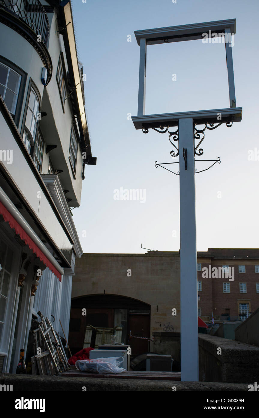 Awaiting new sign at the newly renovated Sir Garnet, a traditional market put in Norwich, Norfolk - Stock Image