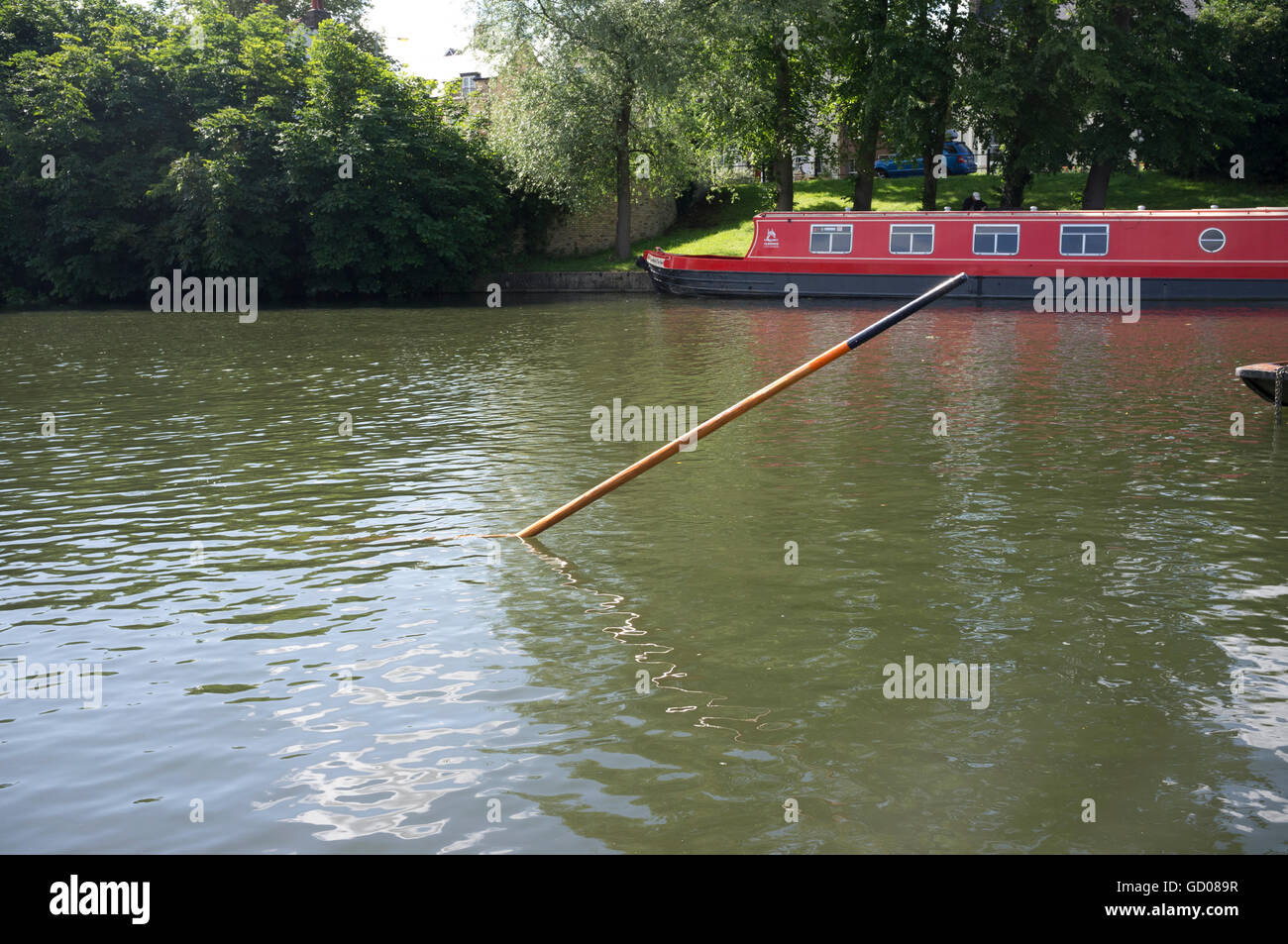 A pole left by somebody punting on the River Cam where it got stuck in the riverbed of the River Cam - Stock Image