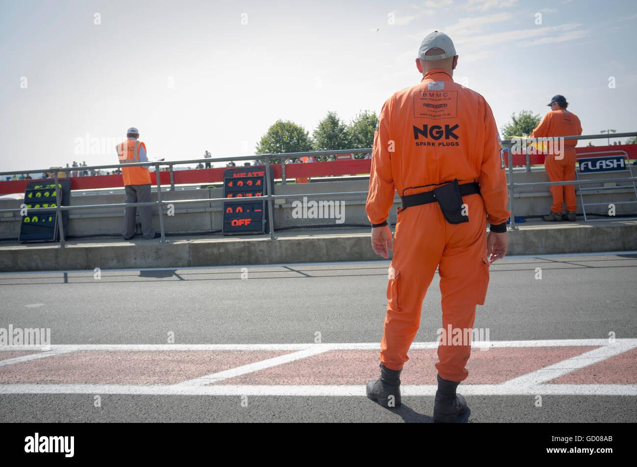 Track marshalls at Silverstone - Stock Image