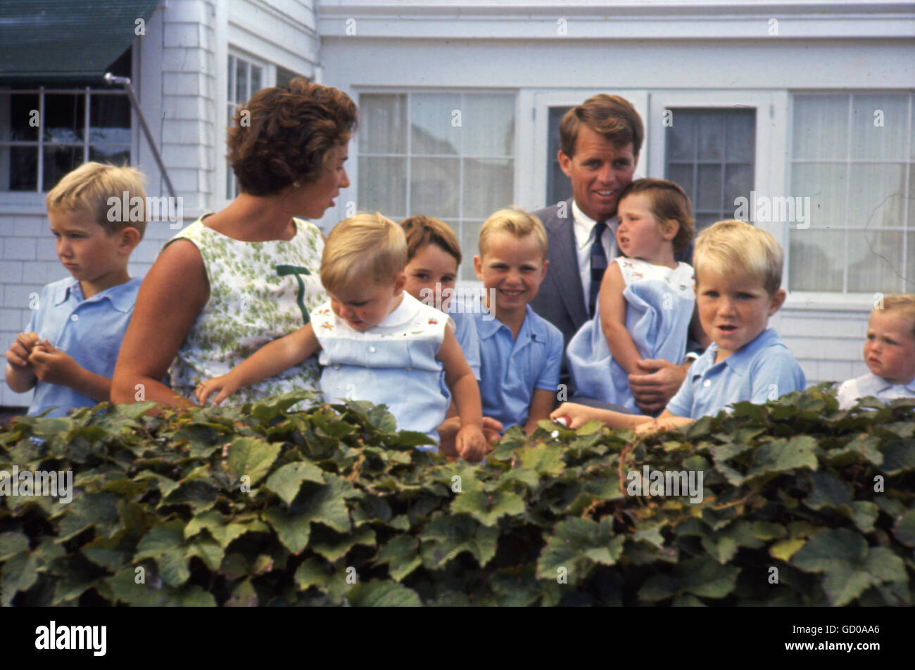 Robert F. Kennedy with Ethel Kennedy and Family, at Hyannis Port, August 1959. - Stock Image