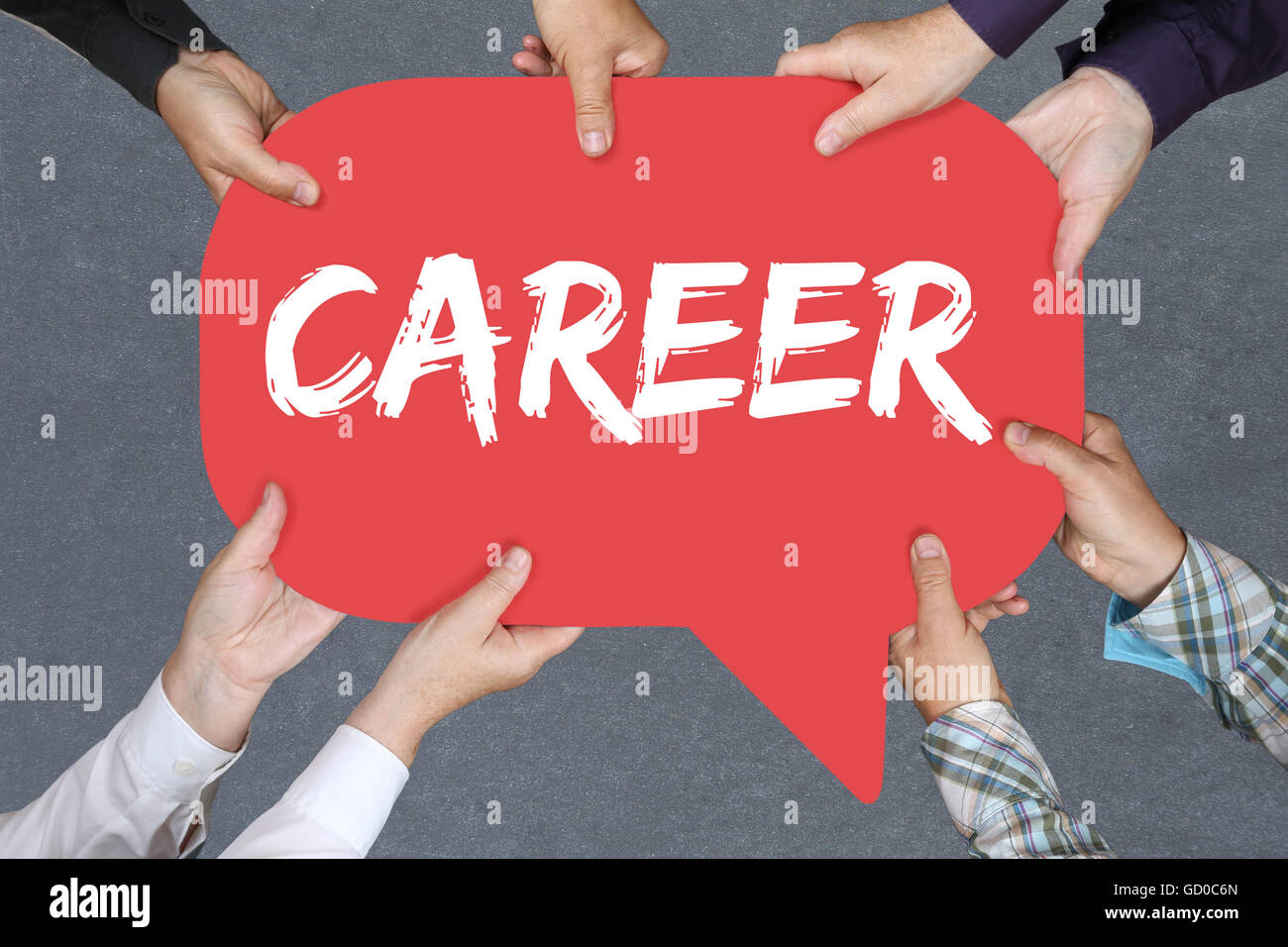 Group of people holding with hands the word career opportunities goals success and development business concept - Stock Image