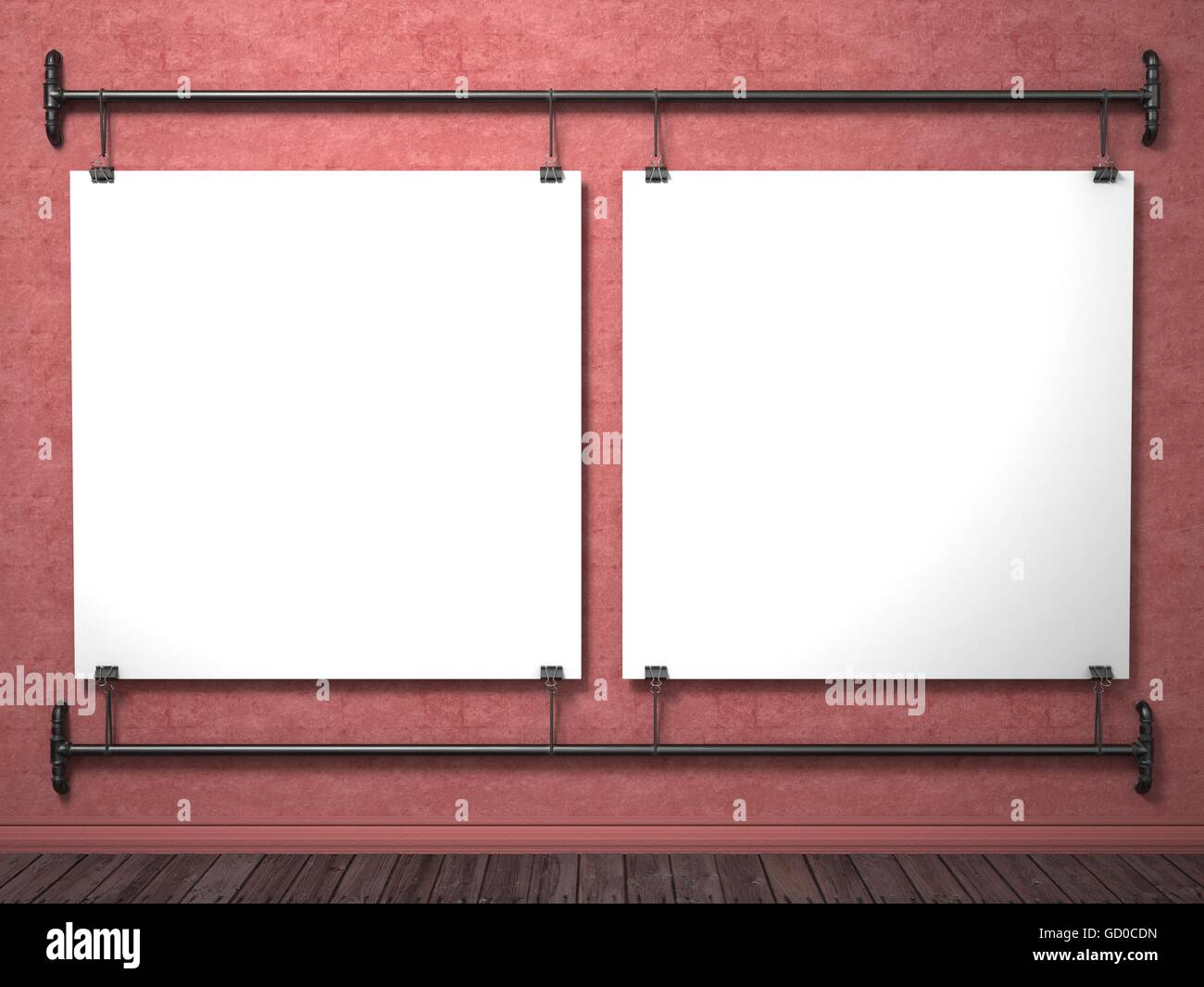 Two mock up posters on red wall and pipe frame, 3D render Stock ...