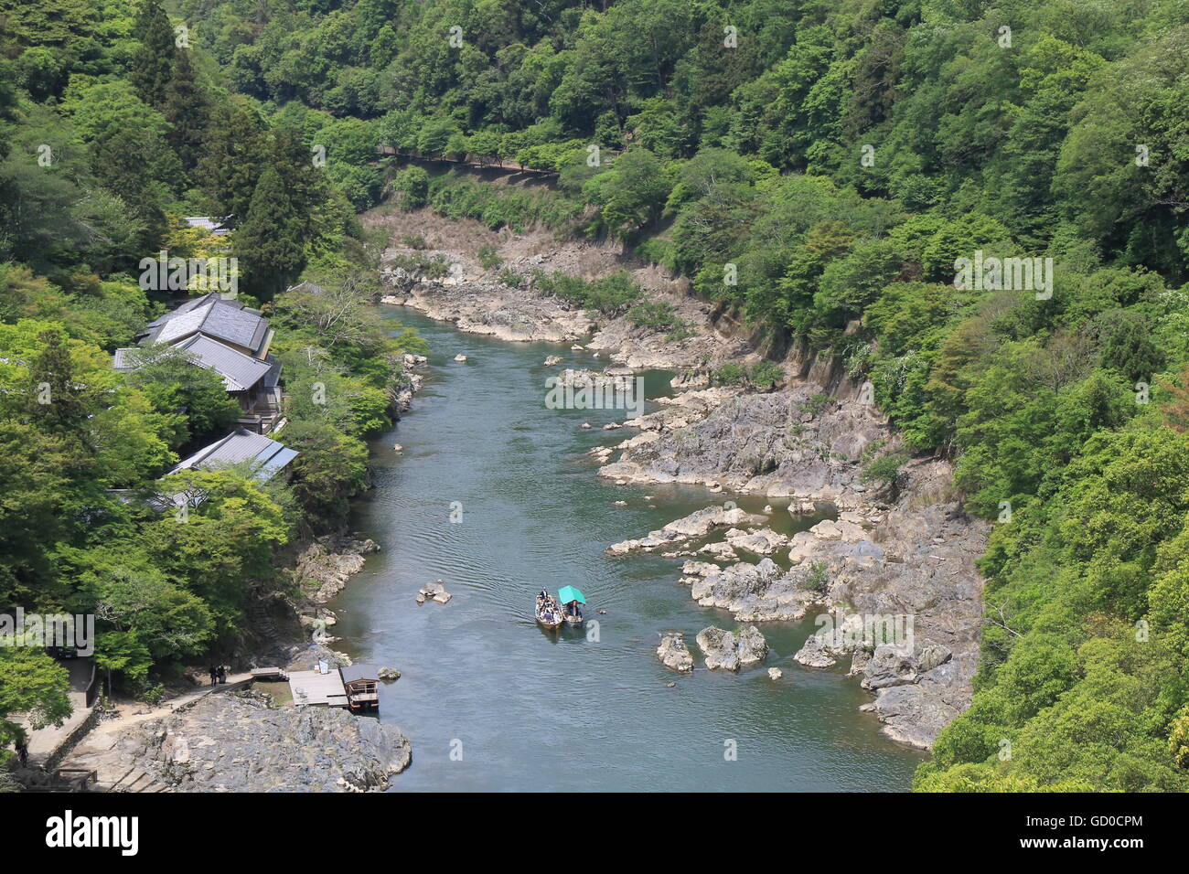 Hozu river cruise and Kyoto mountains in Kyoto Japan. - Stock Image