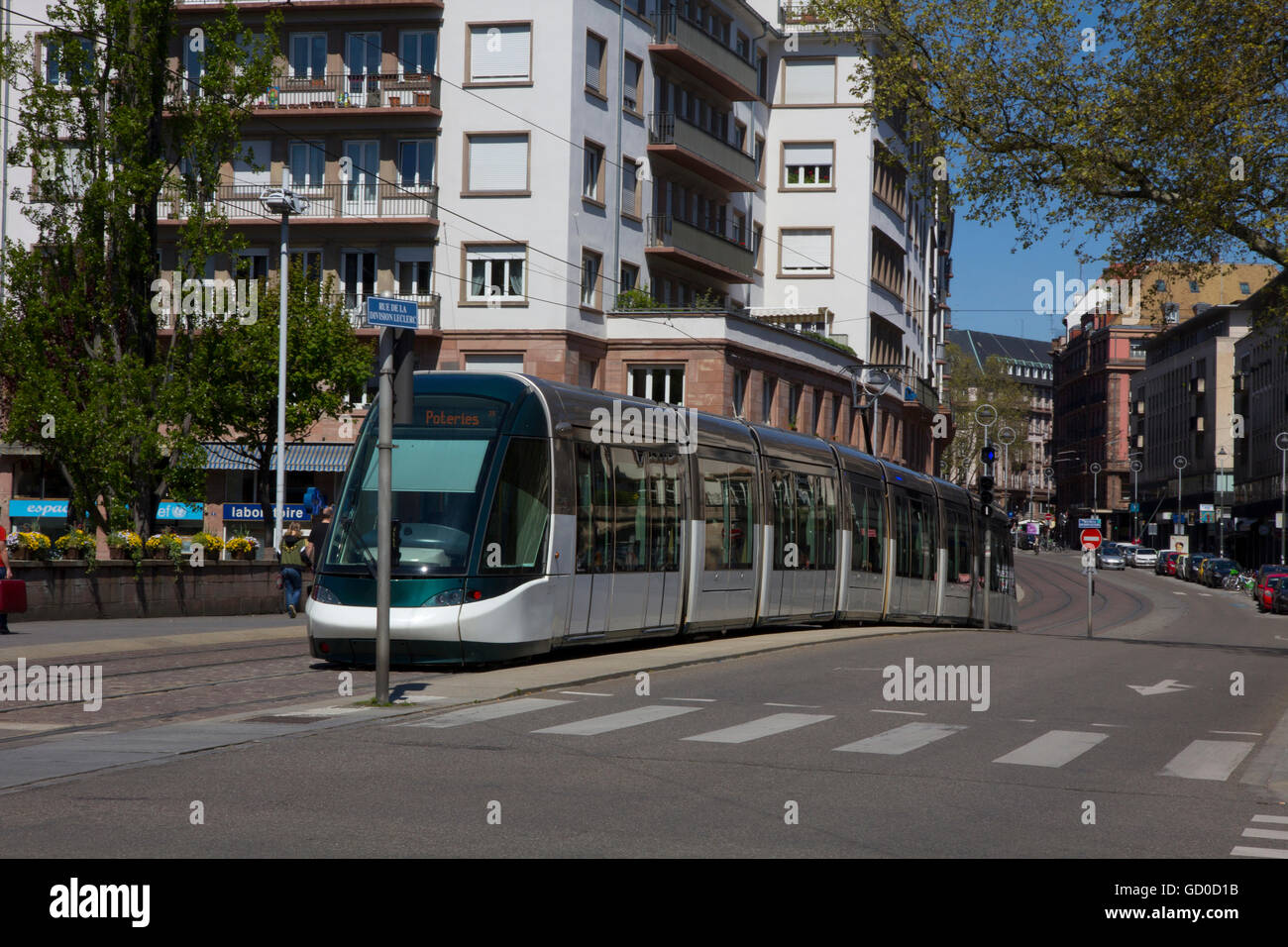Urban transportation in Strasbourg is greatly facilitated by the city's modern trams featuring six tram lines - Stock Image