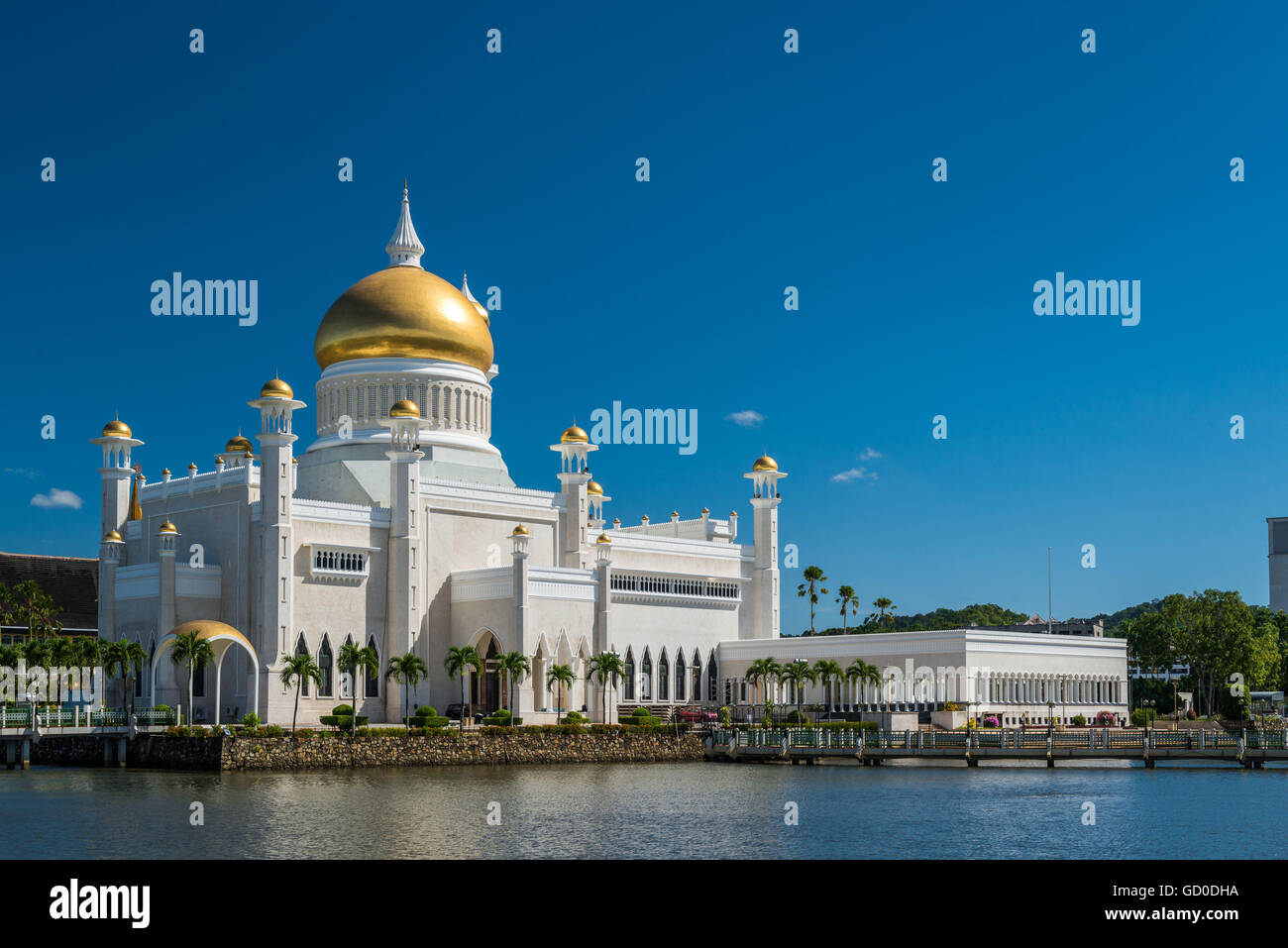 Late afternoon over Bandar Seri Begawan, Brunei, standing in the courtyard of the Sultan Omar Ali Saifuddin Mosque. - Stock Image
