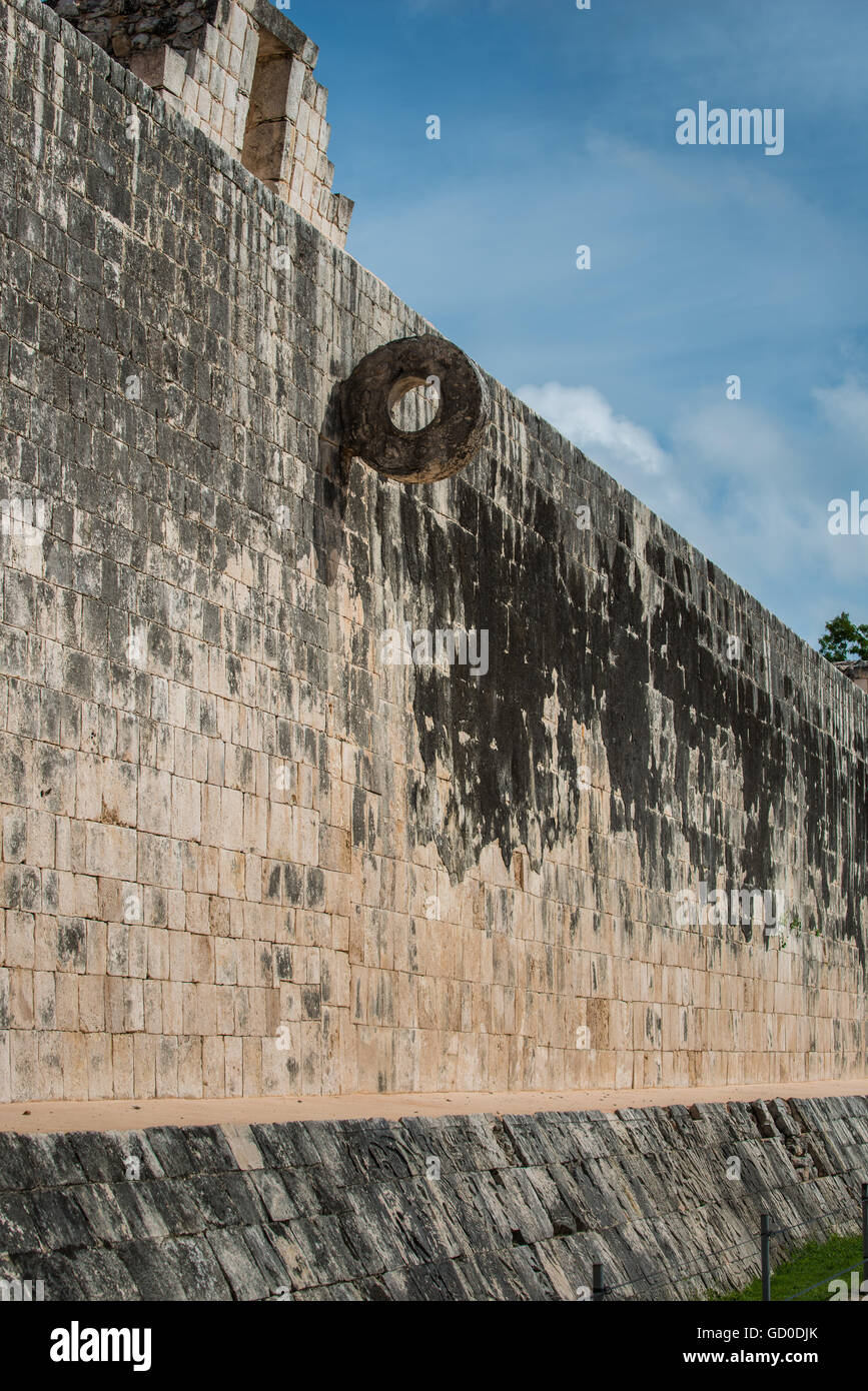 The goal at the Great Ballcourt at Chichen Itza. Players had to put a large rubber ball through the ring without - Stock Image