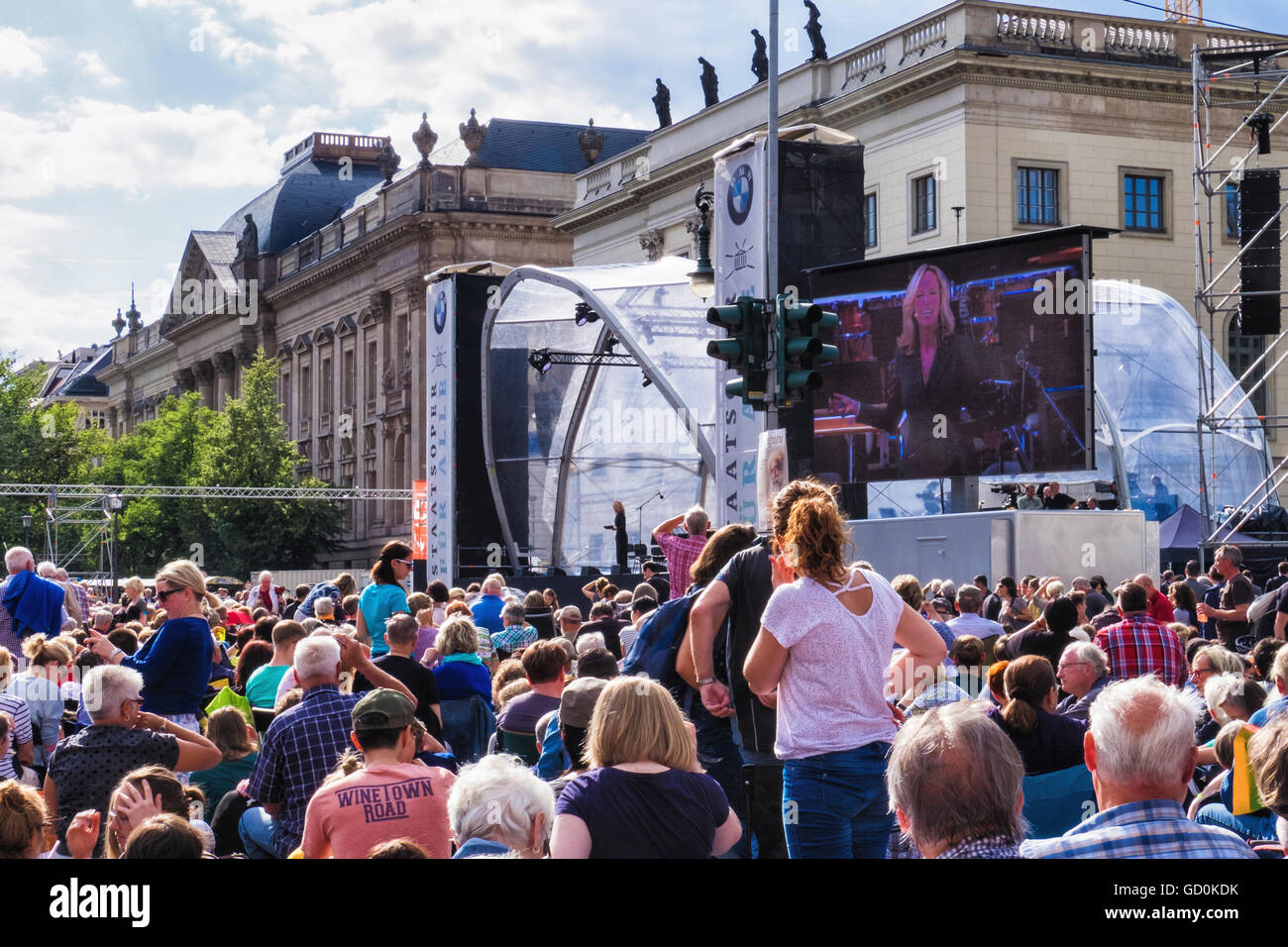 Berlin. Germany, 9th July 2016. Crowds gather in the Unter den Linden for the free annual Open Air Concert conducted - Stock Image