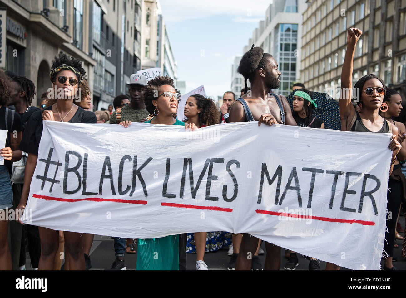 Berlin, Germany. 10th July, 2016. Demonstrators held a banner with the motto of the black civil rights movement - Stock Image